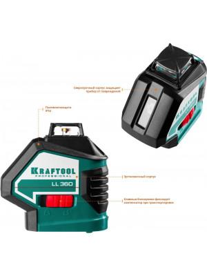 KRAFTOOL линейный лазерный нивелир с детектором в кейсе LL360 #4 34645-4 Professional