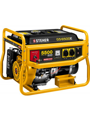 STEHER 5/5.5 кВт, однофазный, синхронный, щеточный, с электростартером, бензиновый генератор GS-6500Е