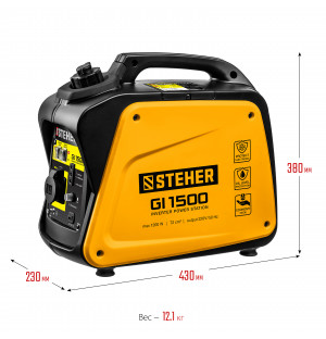 STEHER 1/1,2 кВт, однофазный, синхронный, инверторный, генератор бензиновый GI-1500