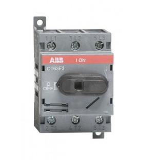 Рубильник OT63F3 до 63А 3х-полюсный для установки на DIN-рейку или монтажную плату (с резерв. ручкой)